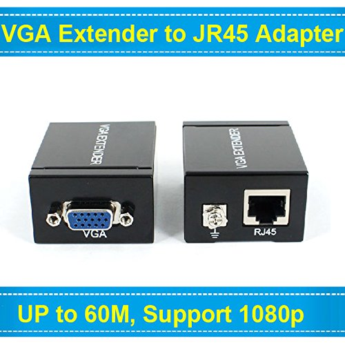 Neon 60M VGA Extender Repeater Adapter Over Single RJ45 Cat 5e Cat6 Network Cable Support 1080P Full 3D (1 Transmitter + 1 Receiver)