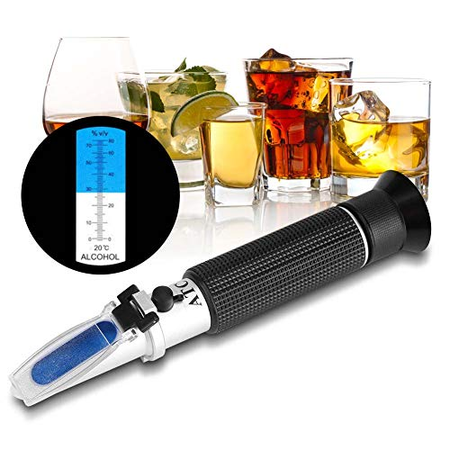 Abuycs High Proof Alcohol Refractometer, ATC Alcohol Refractometer with 0-80% Alcohol Measurement Range for Liquor and Spirits. High Accuracy ±1% Alcohol Refractometer for Whiskey, Brandy, Vodka, etc.