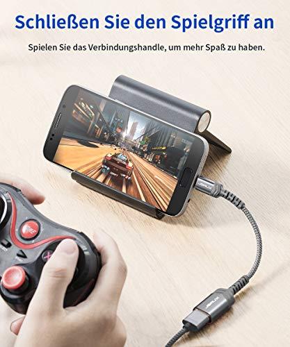 JSAUX Micro OTG Kabel [2 Stück 15CM], USB 2.0 auf Micro USB OTG Adapter Nylon Kompatibel für Samsung Galaxy S5 S6 S7 Edge, Note 5, Galaxy Tab 3, Huawei P9/P10 Lite, Android Smartphones/Tablets (Grau)