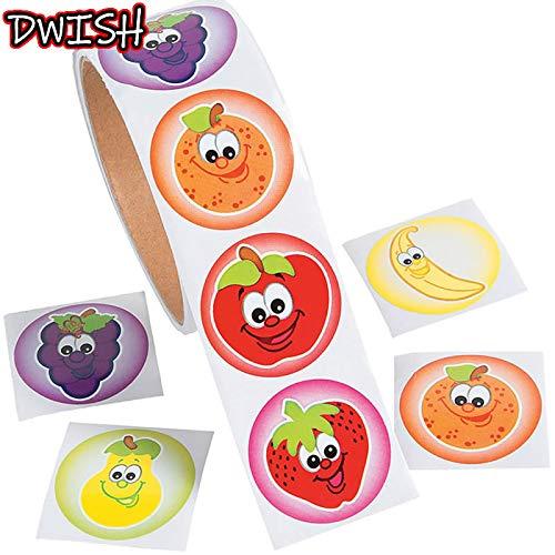 100pcs / Roll Cute Colorful Smiley Apple Banana Niños Pegatinas Toy Seal Labe Kids Boy Girl DIY Scrapbooking Book Reward Sticker