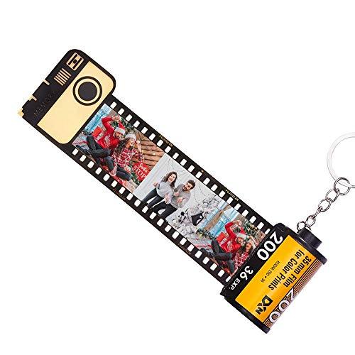Porta-chaves personalizados VEELU com dez fotos à sua escolha Rolo de filme colorido Porta-chaves com câmera Álbum multi-fotos Vintage retro presente original ...