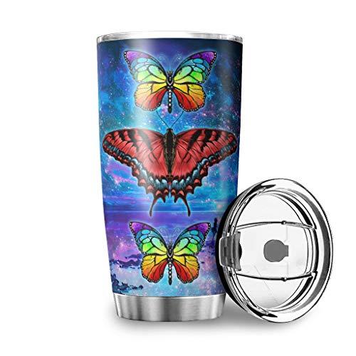 Botella de agua de acero inoxidable con diseño de mariposa, doble pared, resistente a las manchas, taza con tapa transparente, color blanco, 600 ml