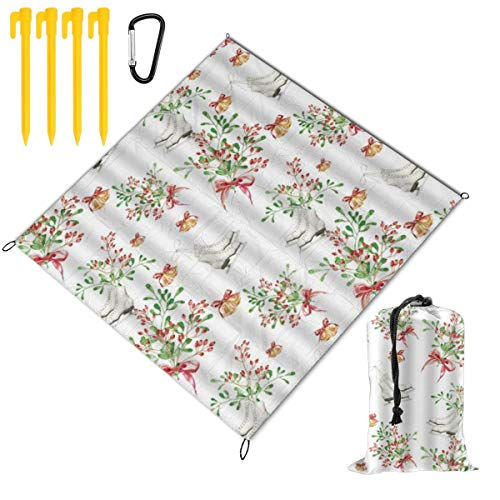 VORMOR foldable Picnic Blanket 145x150cm,Winter Christmas Watercolor Skating Shoes Cherry Twigs With BowKnot Bells Pastel,Outdoor Beach Blankets Waterproof Sandproof Mat for Camping,Family Day Out