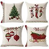 MerryWould 4 Pack Retro Navidad Algodón Lino Throw Pillow Case Funda de Almohada para Cojín 45x45 cm