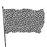 Hanging Flag Dekor,Garten Banner,Fahne,Flagge,Sexy Schwarz-Weiß Leopardenmuster Polyester-Flagge - Lebendige Farbe Und Uv-Lichtechtheit Für Den Außen-/Innenbereich 150X90 cm