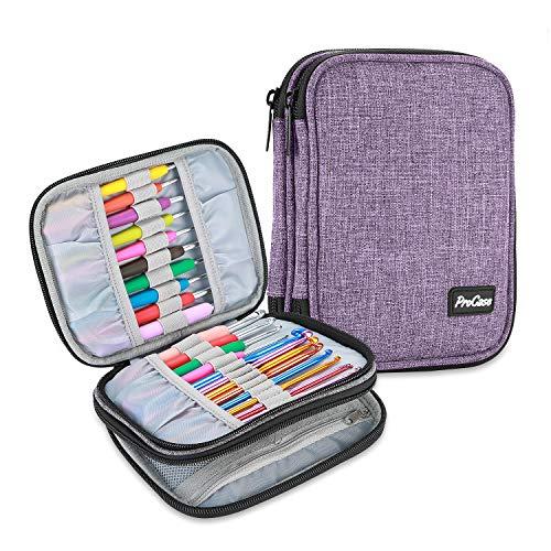 ProCase Tasche für Strickennadel Crochet Hook Case Organizer (Leer ohne Zubehör), Stricknadeltasche mit Netzfächern, Reise Tragetasche für Häkelnadeln Stricknadeln Werkzeuge Zubehör bis 6.5