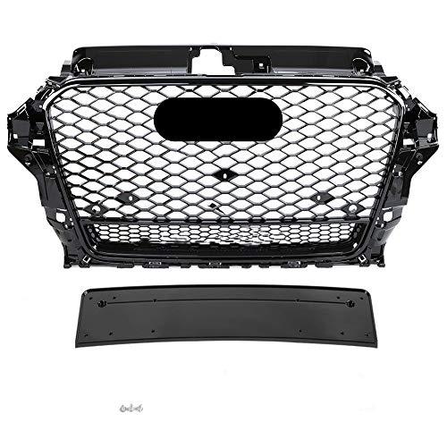 HanT Accesorios de Rejilla de Coche Honeycomb Grill Mesh Negro Brillante, para Audi A3 / S3 8V 2014 2015 2016 RS3 Quattro Style Hex Mesh Rejilla de Parachoques Delantero de Malla