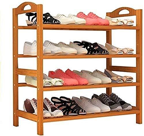 Estante de zapatos Zapatero Familia rack sencillo y funcional de zapato del zapatero vertical Caja de almacenamiento de 4 capas de puerta independiente puerta del armario de la puerta de bambú Estante