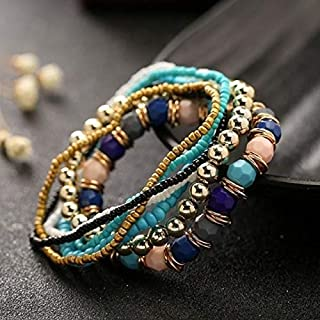 Bracelets Women Four Seasons Bohemian Multi-layer Beaded Elastic Bracelet(black) Bracelets (Color : Light blue)