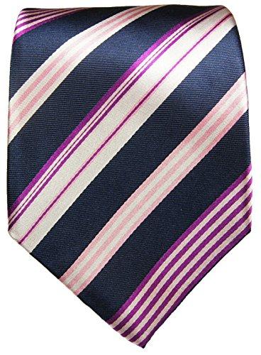 Cravate homme bleu rose rayée 100% soie