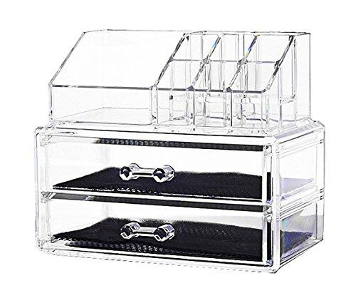 Aufbewahrungssystem für Schmuck und Kosmetika, mit 2 Laden, transparent
