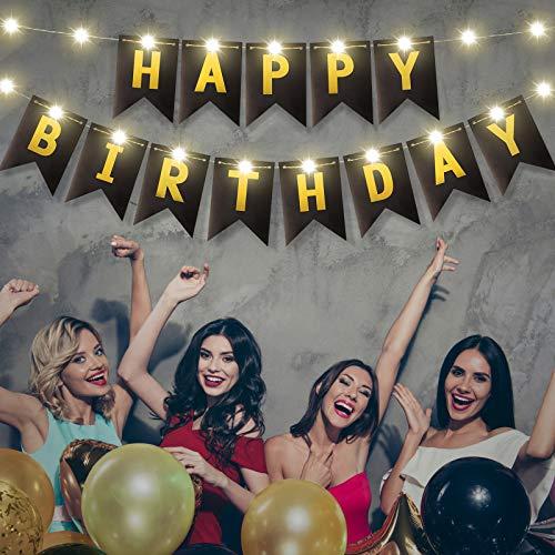 Pancarta de Happy Birthday, Guirnalda de Luces de Hada LED Cartel de Cumpleaños Colgantes con 8 Modos de Parpadeo, Guirnalda de Banderines con Cadena de Luces Funcionada por Batería (Negro)