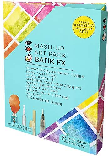 iHeartArt Mash-Up Art Pack Batik Fx Complete Art Portfolio Set by Bright Stripes - Batik Art Kit Includes Watercolor Paint Water Brush Pen 25 Page Art Pad and Techniques Guide