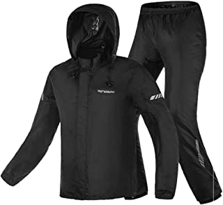 Motorcycle Rain Suit,Waterproof Hi Vision Reflective Bicycle Rain Coat with Adjustable Hood (Black, XX-Large)