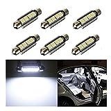 Inlink, 6 luci interne per auto, Canbus, 5050 4-SMD a LED, 42 mm, lampadine auto, 6411 578 a LED per interni auto, lampadine per interno auto o portabagagli