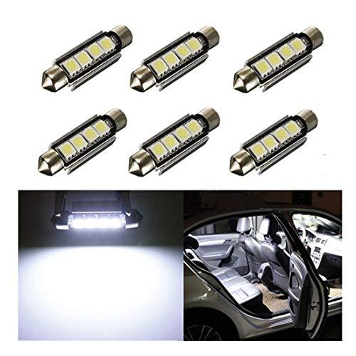 Inlinkbright Lot de 6 Canbus sans erreur 5050 4-SMD LED 42 mm lumière Festoon voiture intérieur Lampes, 6411 578 Ampoule LED pour voiture intérieur dôme Clair ou zone de lumière