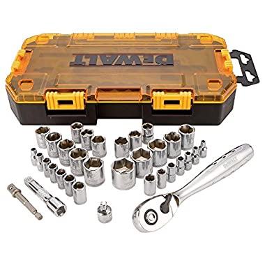 DEWALT DWMT73804  Drive Socket Set (34 Piece), 1/4  and 3/8