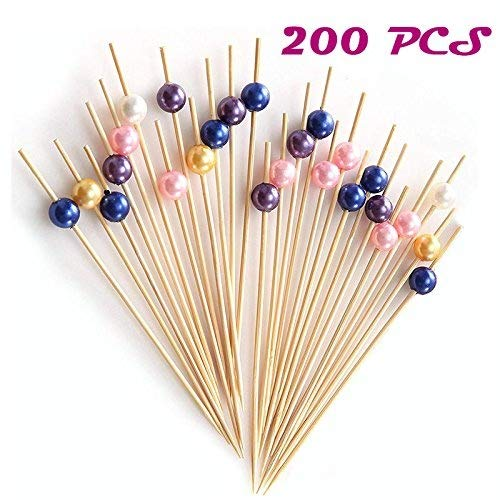 Agreatca 200 PCS,Bamboo Cocktail Picks,Bamboo Appetizer Toothpicks,Cocktail Sticks Party Frilled Toothpicks,Decorative Bamboo Cocktail Skewers With Shiny Pearl Beads