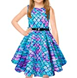 uideazone Cute Girls Casual Dress Sleeveless Blue Purple Mermaid Fish Scale Pleated Skirt Dresses with Belt for Big Girls 12-13 Years Blue