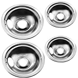 """Stainless Drip Pan Set Replace ment for Frigidaire Kenmore 316048413 316048414 With 6"""" and 8'"""