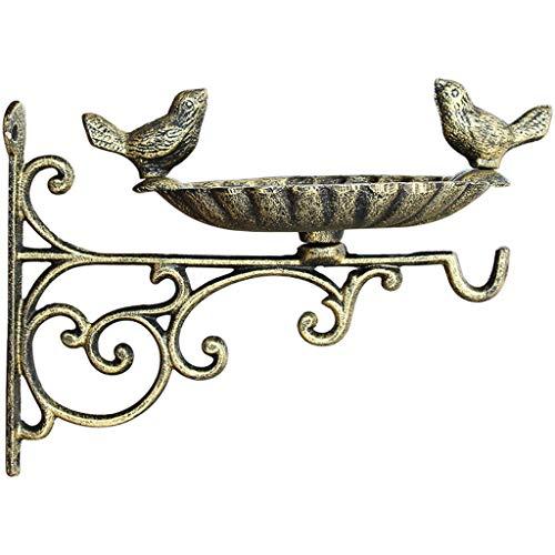 JXXDDQ Support Mural Jardin mangeoire à Oiseaux cru Brun en Fonte décorative Bain Oiseau Alimentation en Eau Auge en Plein air