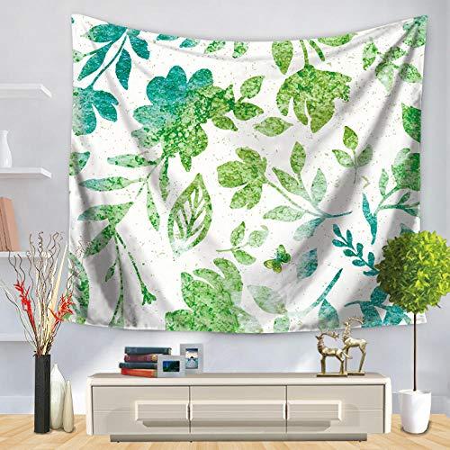 YUANOMWJ Tapiz De Pared,Hermosas Plantas Naturales Verdes Frescas, Tapiz De Mandala Hippie Hippy Celestial Indio Trippy Bohemio Tapices, 130X150Cm