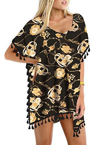 Biquíni feminino de chiffon com borla GDKEY elegante saída de praia, Gold Chain, Small-Medium