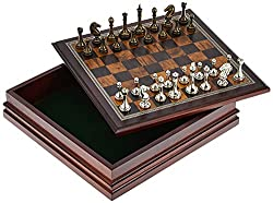 powerful Classic Game Collection Metal chess with luxurious wooden boards and storage space – 2.5 inch king