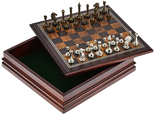 Classic Game Collection Metal Chess Set with Deluxe Wood Board and Storage - 2.5' King, Gold/Silver/Brown (985)