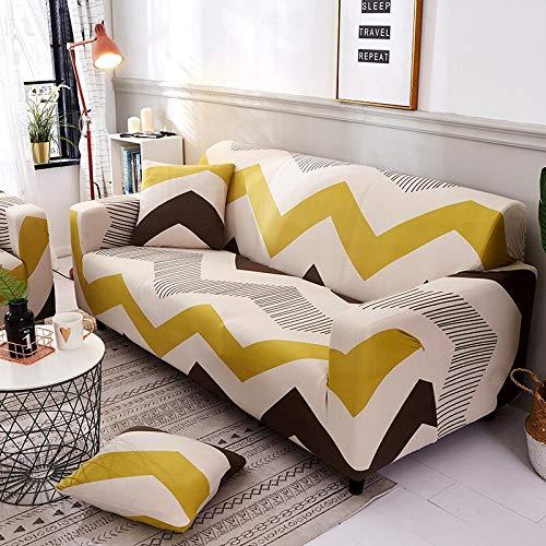 WXQY Fundas de sofá elásticas geométricas Fundas de sofá elásticas para Sala de Estar Protector de Muebles sofá Toalla Funda de sofá A14 4 plazas