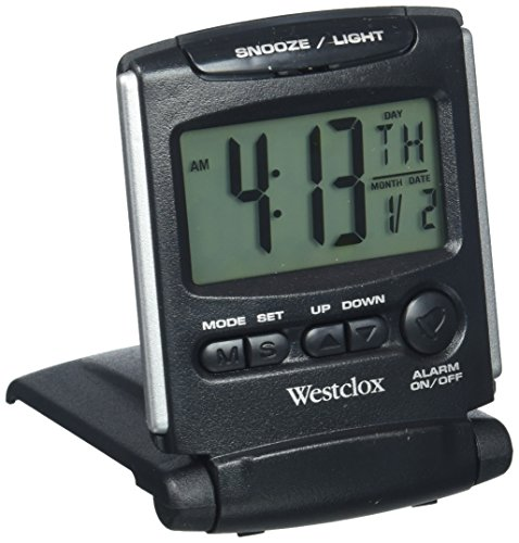 Westclox 72028 Travel Alarm Clock, Bluelight LCD