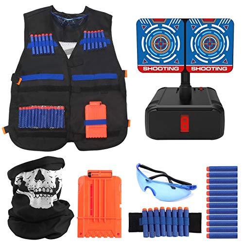 Joyhoop Kit de Chaleco Táctico para Niños, Chaleco Táctico para Niños para Pistolas Nerf N-Strike Elite.(Extra con Objetivo de Tiro Eléctrico)
