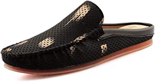 XUJW-Shoes, for Men Leisure Driving Loafers Fashion Round Toe Mules Outdoor Fashion Casual Walking Shoes Slip On Backeless Stitch Perforated PU Leather Lightweight (Color : Black, Size : 6 UK)