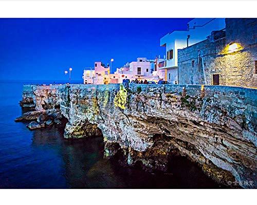Puzzle Puzzle Fai da Te per Adulti 1000 Pezzi Vista Costiera di Polignano A Mare al Crepuscolo Puglia Italia per Un Amico Regalo di Compleanno per Bambini