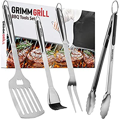 GRIMMGRILL Heavy Duty 18 Inch BBQ Grilling Tools Set - Stainless Steel Utensils: Spatula, Fork, Basting Brush & Tongs. Accessories for Outdoor Barbecue & Grill with White Gift Box Package