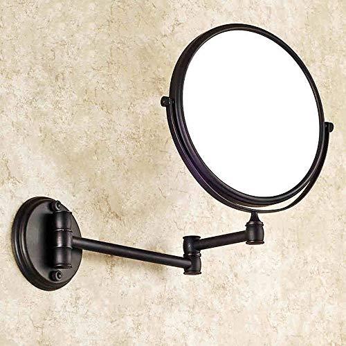 QXHELI 8-Douane Cosmetische Spiegel Zwart, badkamer wastafel spiegel met beide zijden van bad kamers uitschuifbare spiegel Vergrootglas Muur