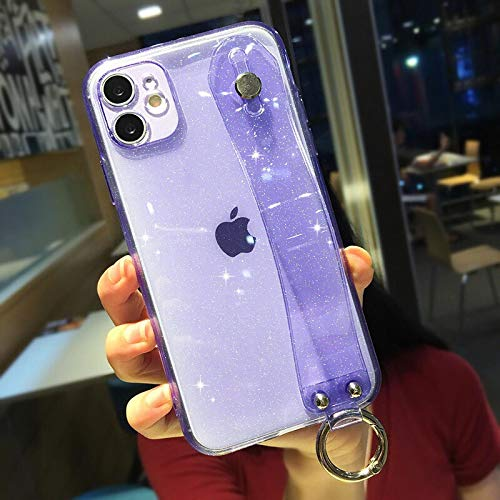 IPhone case FQSCX Fluorescent Bling Gitter Wrist Strap Phone Case For iPhone 11 Pro Max X XR XS 7 8 Plus SE 2020 Clear Soft TPU Back Cover ForiPhoneXR 4