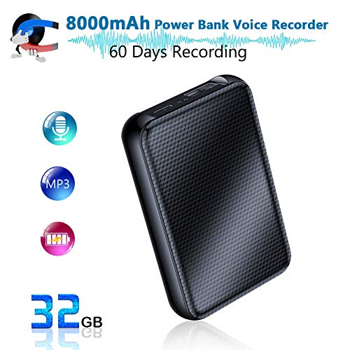 Digital Voice Recorder, 8000mh Power Bank Up to 60 Days Continuous Recording Device, 32GB Voice Activated Recorder, Functional Portable Charging Device, 500 Days Standby | Built-in Strong Magnet