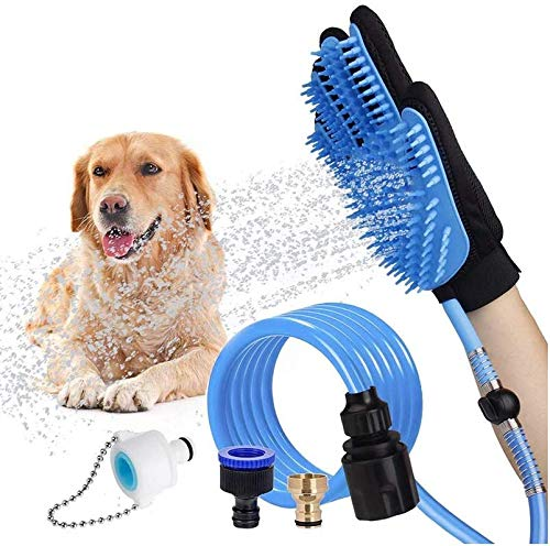 Dog Bathing Tool Pet Grooming Glove Pet Hair Remover Bathtub Dog Shower Attachment with Massaging&Grooming Glove, 3 Faucet Adapters to 98.5 inches Garden Hose, for Dog Cat Outdoor&Indoor Use (Blue)