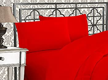 Elegant Comfort Luxurious 1500 Thread Count Egyptian Quality Three Line Embroidered Softest Premium Hotel Quality 4-Piece Bed Sheet Set Wrinkle and Fade Resistant Queen Red