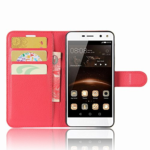 SMTR Huawei Nova Young Custodia, SMTR Huawei Nova Young Wallet Case Cover Leather Flip Cover Magnetic closing Anti-Shock Function with Stand - Rosso