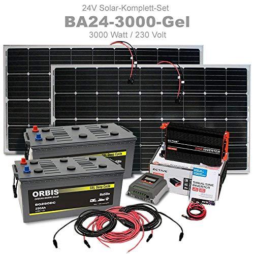 3.000 Watt Insel Solaranlage autarke PV-Anlage GEL mit Solarpanelen, Batterien, MPPT Laderegler, Sinus Wechselrichter, installationsbereit