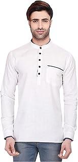 Indian Women Sarees Designer Stylish Mens Regular Daily wear Comfortable and Relaxing White Cotton Short Kurta for Men. IC...