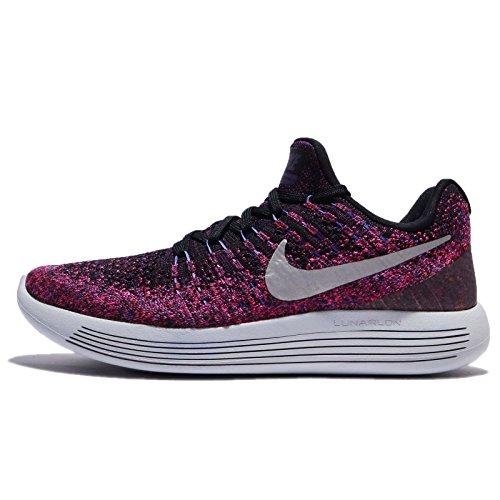 Nike Women's Lunarepic Low Flyknit 2 Running Shoe (6, Black Metallic Silver)