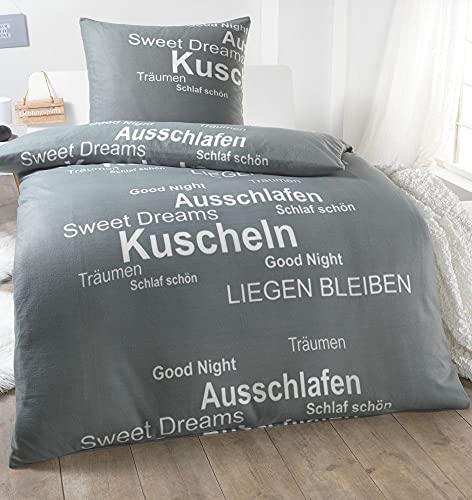 Dreamhome 2 TLG Warme Kuschel Microfaser Thermo Fleece Winter Bettwäsche 135x200 80x80