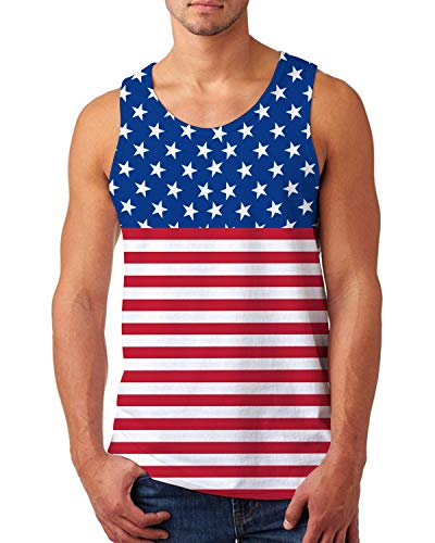 uideazone Men's Independence Day Tank Tops Patriotic American USA Singlet Vest Athletic Sleeveless T-Shirt Top for Gym Workout Summer 2X-Large