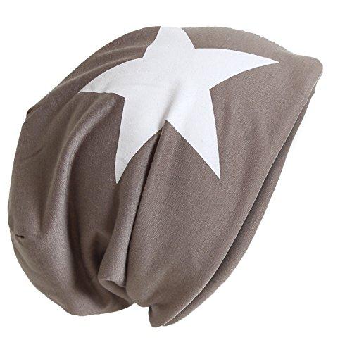 Brubaker Unisexe Slouch Bonnet Coton avec Motif Étoile - Marron - Taille Unique