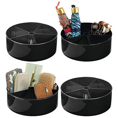 mDesign Set da 4 organizer armadio girevoli Lazy Susan con 5 scomparti – Cestino portaoggetti girevole per armadio e bagno girevole a 360° – Contenitore armadio per borse, sciarpe e pantofole – nero