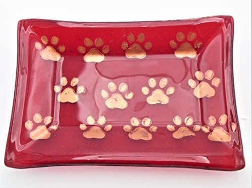 Decorative Red and Copper Mica Paw Print Soap Candy Catchall Trinket Dish Handcrafted Fused Glass