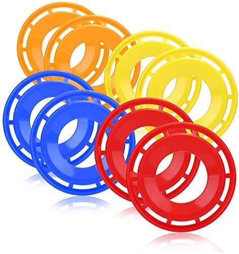 COM-FOUR® 8x frisbee voor kinderen en volwassenen - werpschijf in ringvorm - frisbee om mee te spelen - vliegende schijf in felle kleuren [selectie varieert]